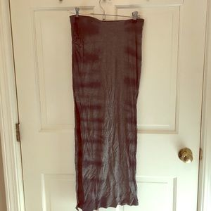 Black and gray tie dye maxi skirt with slit